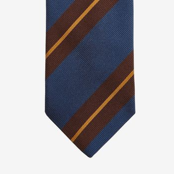 Drake's Blue Regimental Striped Silk Tie Tip