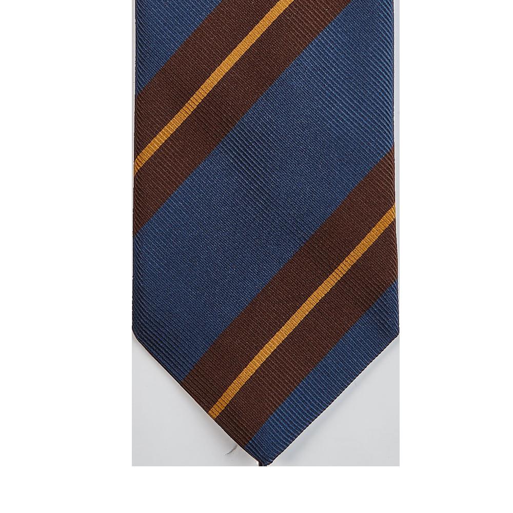 Drake's Blue Regimental Striped Silk Tie Tip