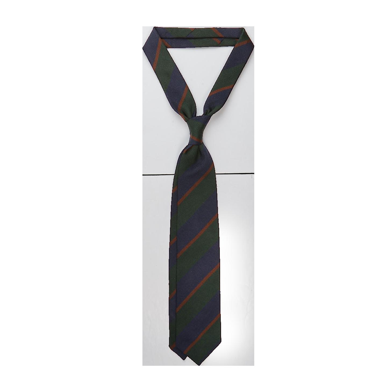 Drake's Green Regimental Striped Silk Tie Feature (kopia)