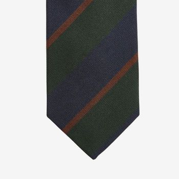 Drake's Green Regimental Striped Silk Tie Tip