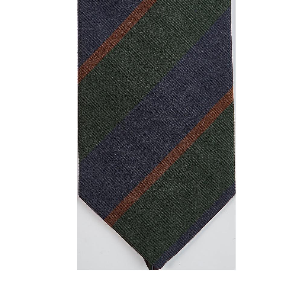 Drake's Green Regimental Striped Silk Tie Tip