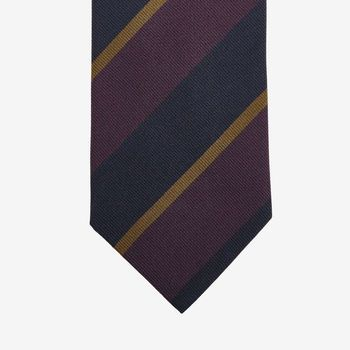 Drake's Purple Regimental Striped Silk Tie Tip