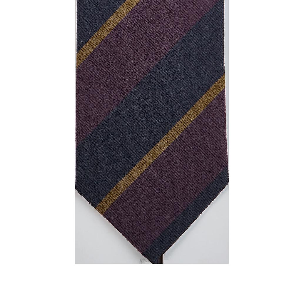 Drake's Purple Regimental Striped Silk Tie Tip
