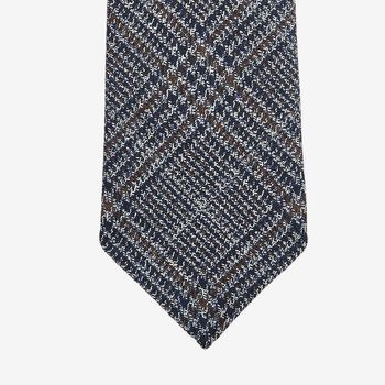 Dreaming of Monday Blue Brown Checked 7-Fold Merino Wool Tie Tip