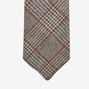 Dreaming of Monday Brown Checked 7-Fold Loro Piana Wool Tie Tip