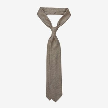 Dreaming of Monday Taupe Herringbone 7-Fold Loro Piana Wool Tie Feature (kopia)