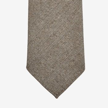 Dreaming of Monday Taupe Herringbone 7-Fold Loro Piana Wool Tie Tip