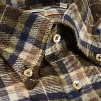Stenströms Brown Checked Cotton Flannel Fitted Body Shirt Collar