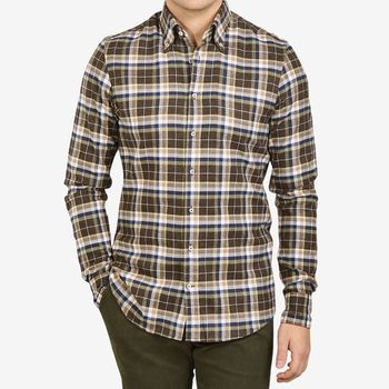Stenströms Brown Checked Cotton Flannel Fitted Body Shirt Front