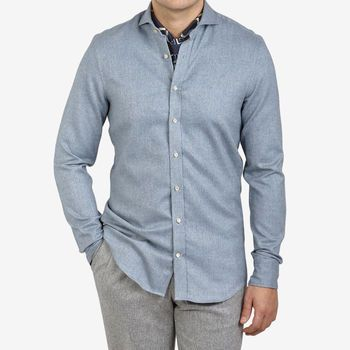 Stenströms Denim Blue Cotton Flannel Fitted Body Shirt Front