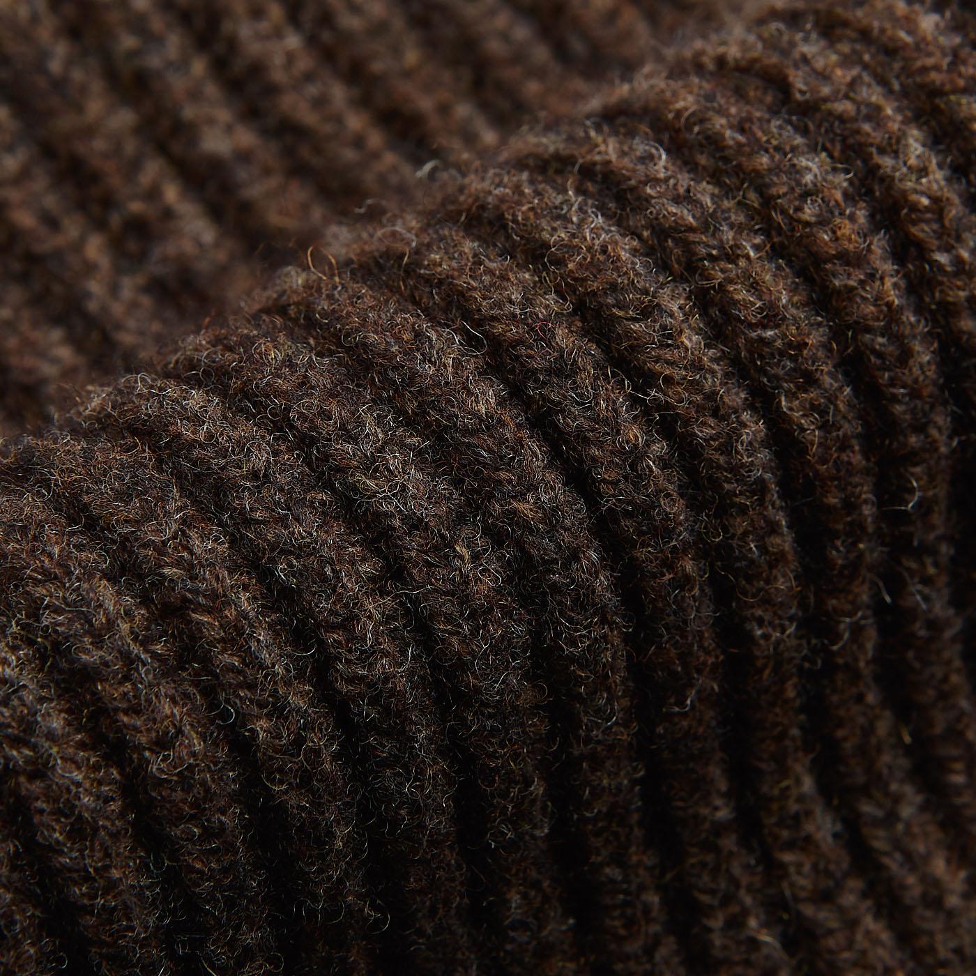 William Lockie Cocoa Brown Lambswool Shawl Collar Cardigan Fabric