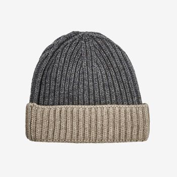 William Lockie Grey Beige Cashmere Ribbed Beanie Feature