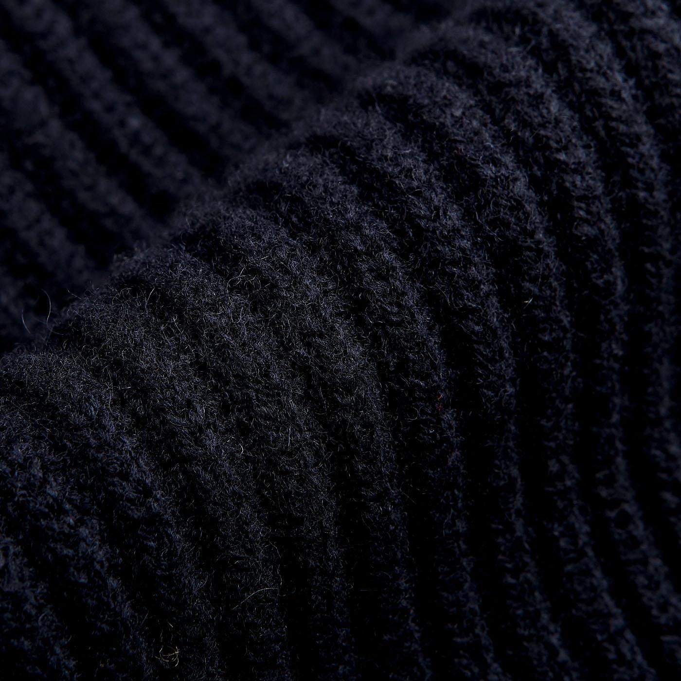 William Lockie Navy Lambswool Shawl Collar Cardigan Fabric