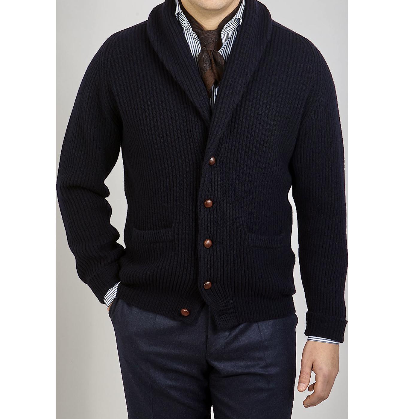 William Lockie Navy Lambswool Shawl Collar Cardigan Front