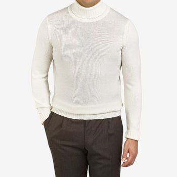 William Lockie Off-White Merino Wool Roll Neck Front