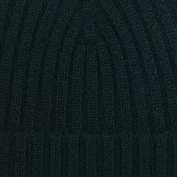 Amanda Christensen Bottle Green Ribbed Cashmere Cap Fabric