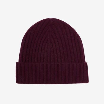 Amanda Christensen Burgundy Ribbed Cashmere Cap Feature