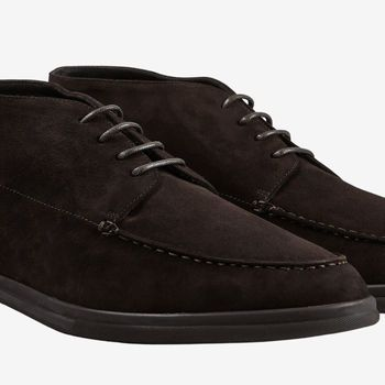 Canali Brown Suede Unlined Derby Boots Detail