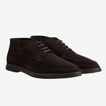 Canali Brown Suede Unlined Derby Boots Front