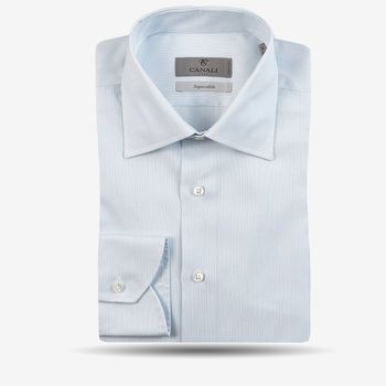 Canali White Blue Striped Cotton Cutaway Shirt Feature