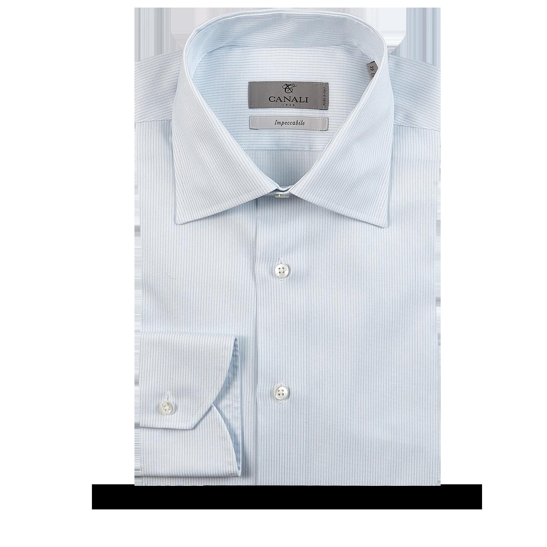 Canali White Blue Striped Cotton Cutaway Shirt Feature