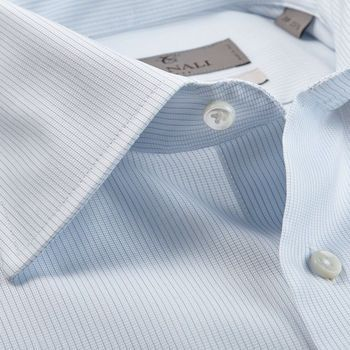 Canali White Blue Striped Cotton Cutaway Shirt Open