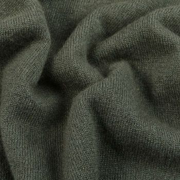Davida Army Green Cashmere Crewneck Sweater Fabric