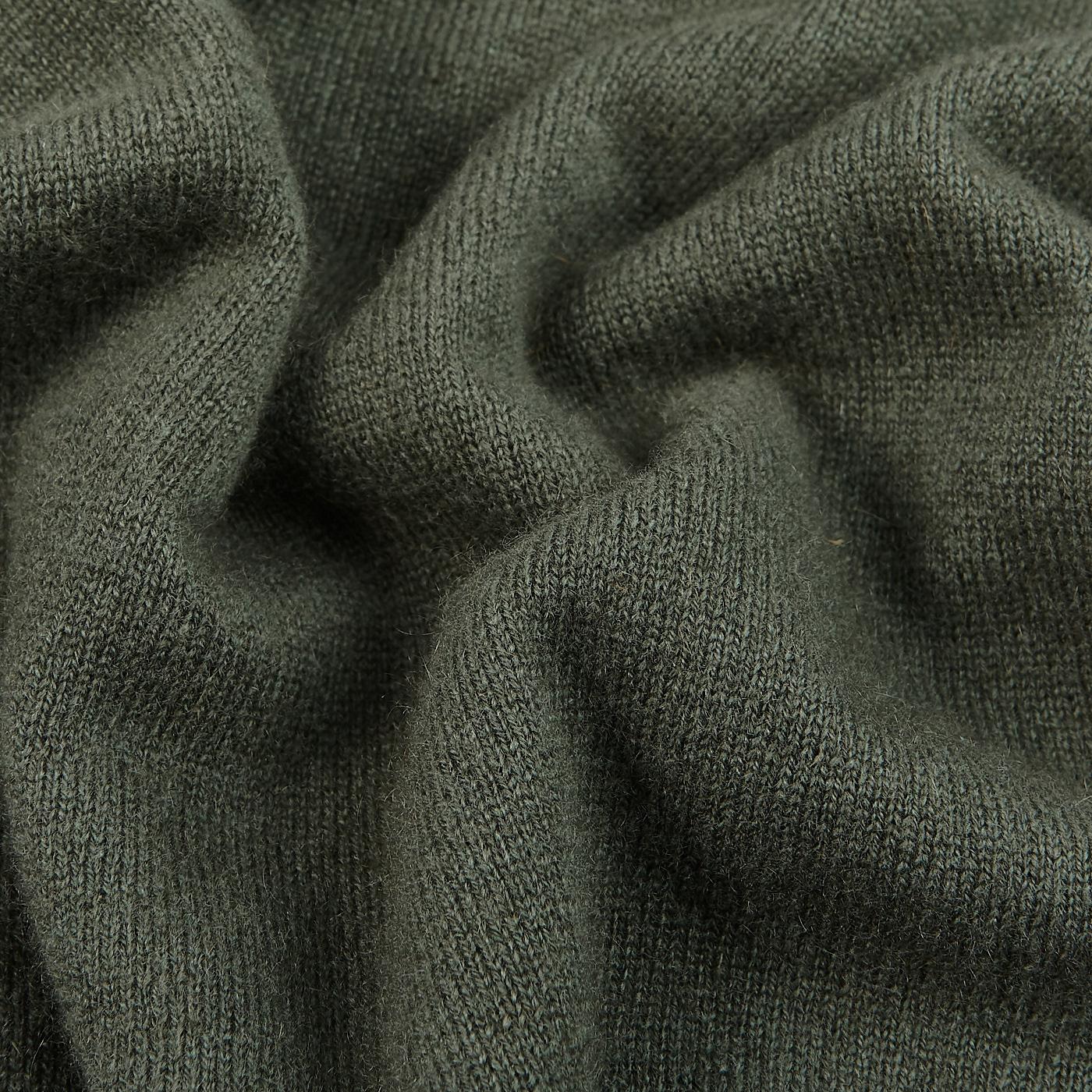 Davida Army Green Cashmere Crewneck Sweater Fabric