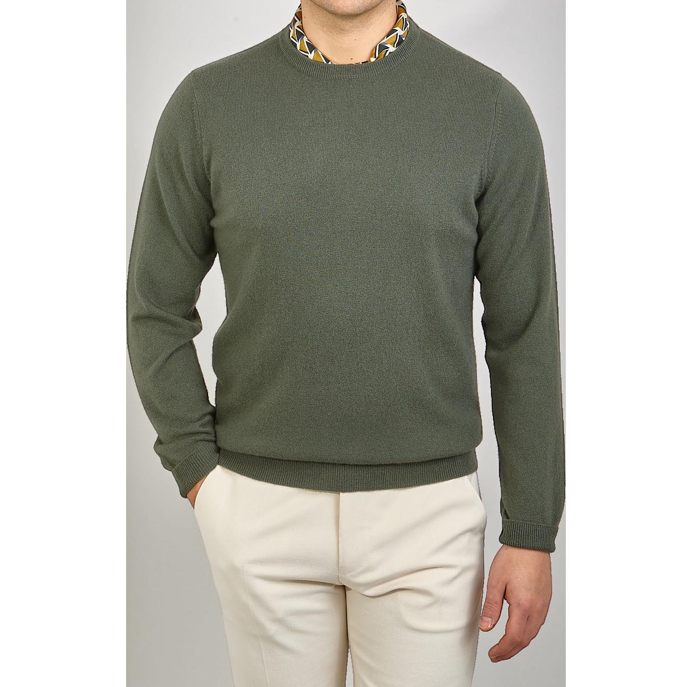 Davida Army Green Cashmere Crewneck Sweater Front
