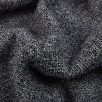 Davida Dark Grey Cashmere Plain Knit Zip Cardigan Fabric