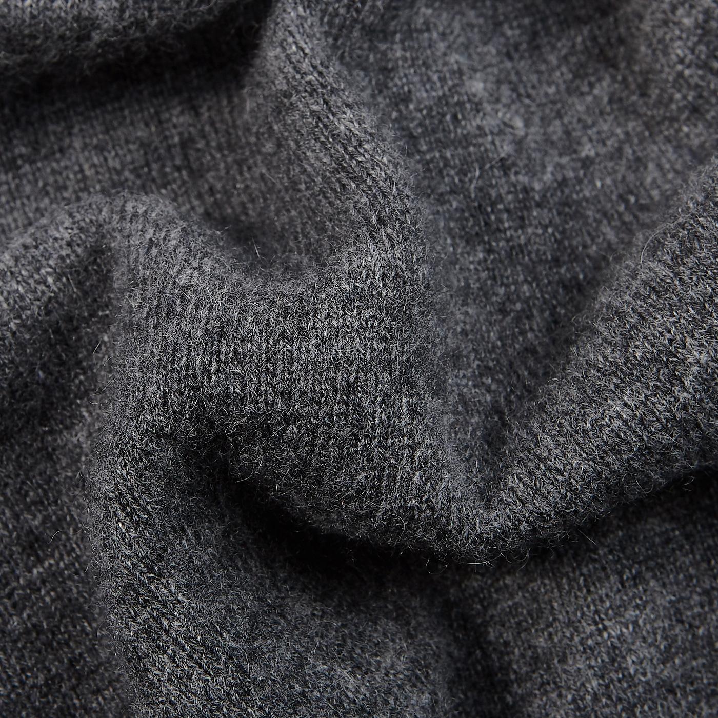 Davida Dark Grey Cashmere Plain Knit Zip Cardigan Fabric