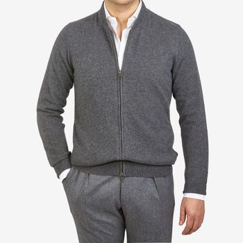 Davida Dark Grey Cashmere Plain Knit Zip Cardigan Front