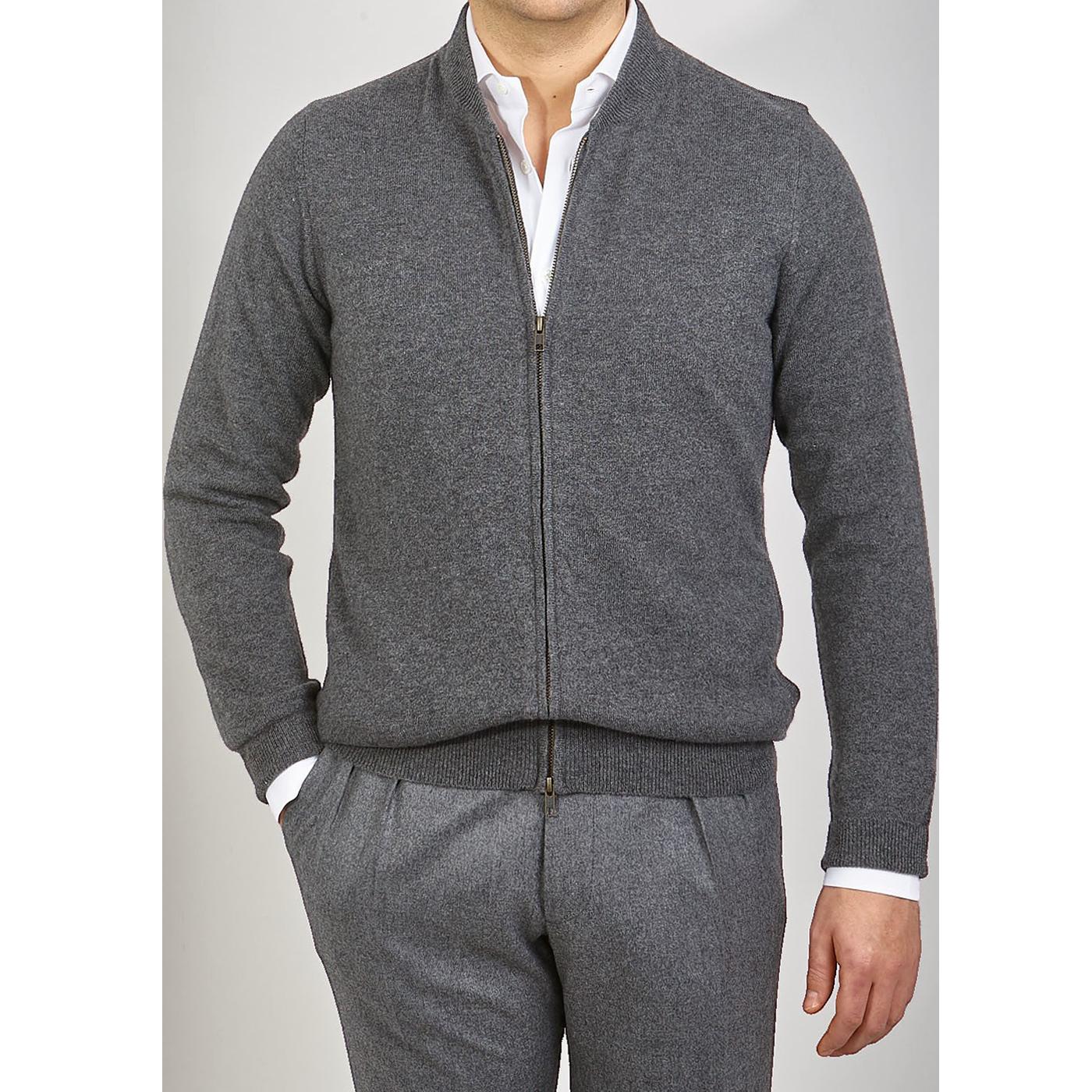 Davida Dark Grey Cashmere Plain Knit Zip Cardigan Front