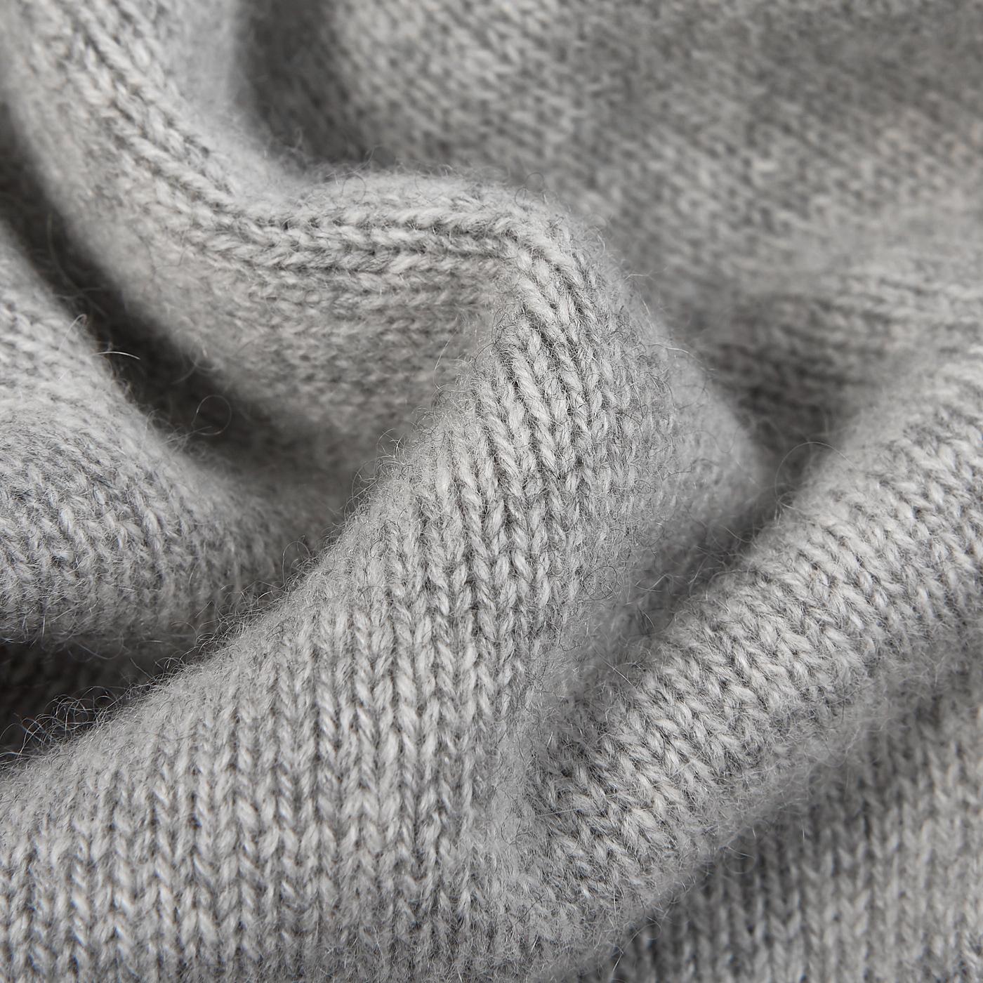 Davida Light Grey Cashmere Chunky Roll Neck Fabric