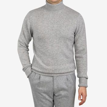 Davida Light Grey Cashmere Chunky Roll Neck Front