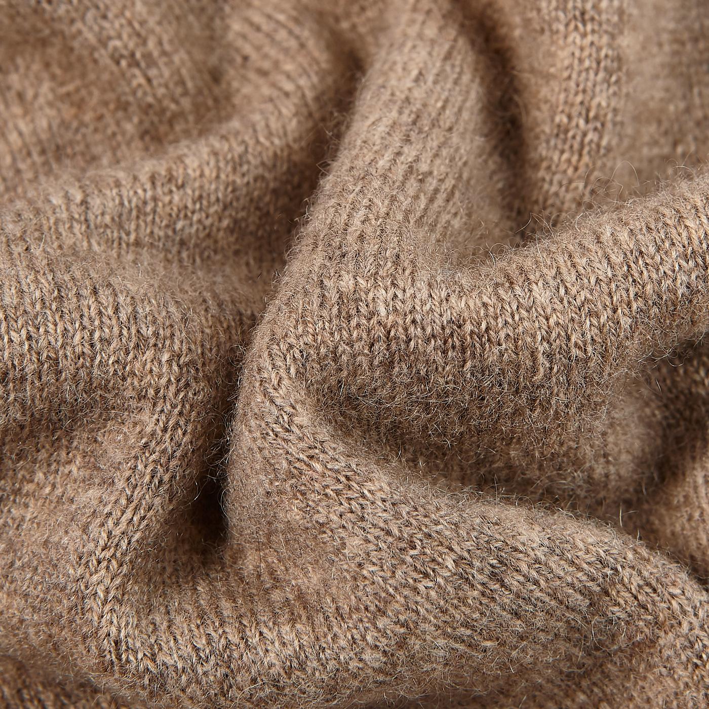 Davida Mink Beige Cashmere Polo Shirt Fabric