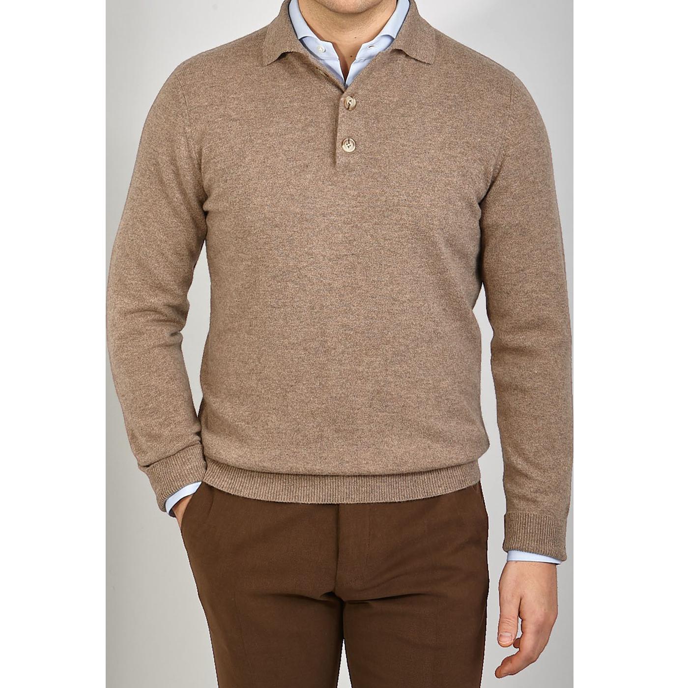 Davida Mink Beige Cashmere Polo Shirt Front