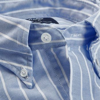 Drake's Blue Wide Striped Cotton Oxford BD Shirt Collar Open