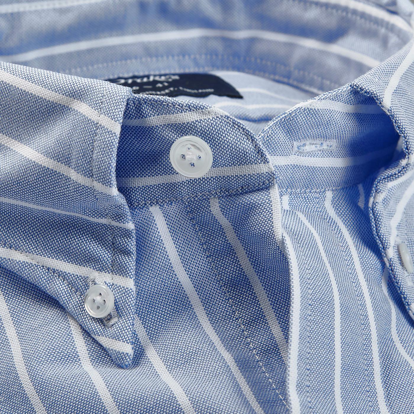 Drake's Blue Wide Striped Cotton Oxford BD Shirt Collar Open