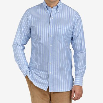 Drake's Blue Wide Striped Cotton Oxford BD Shirt Front