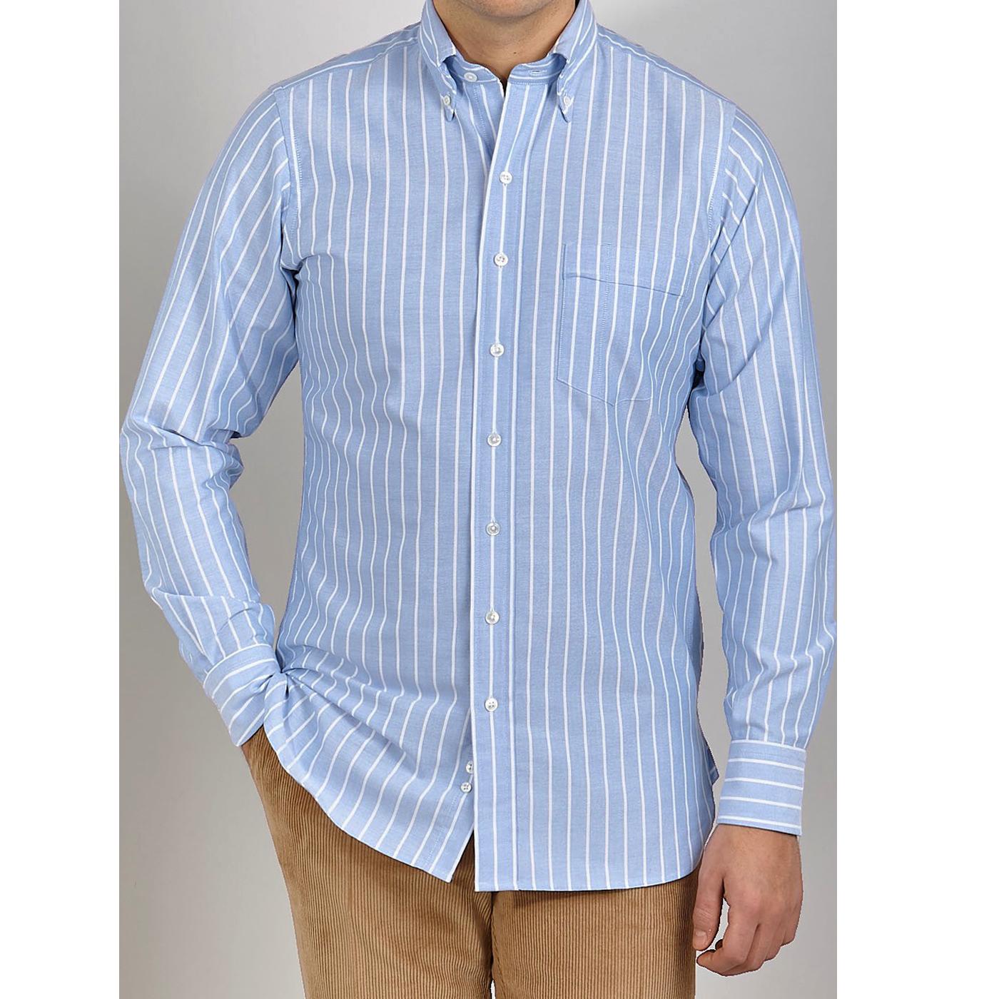Drake's Blue Wide Striped Cotton Oxford BD Shirt Front