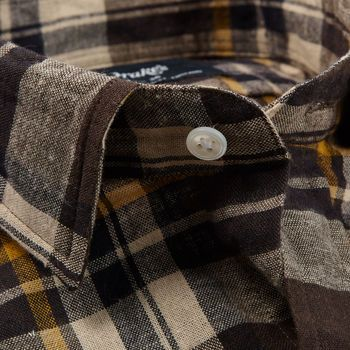 Drake's Brown Checked Cotton Linen Two-Pocket Work Shirt Collar Open