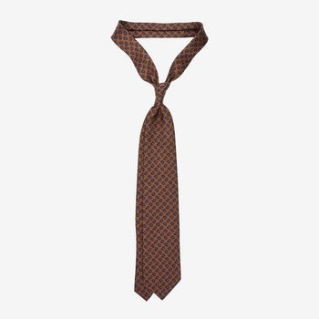 Drake's Brown Paisley Pine Print Madder Silk Tie Feature (kopia)