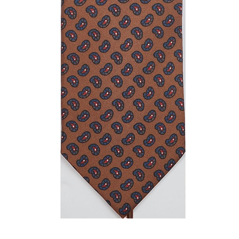 Drake's Brown Paisley Pine Print Madder Silk Tie Tip