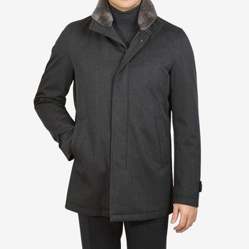 Herno Charcoal Wool Twill Beaver Collar Jacket Front