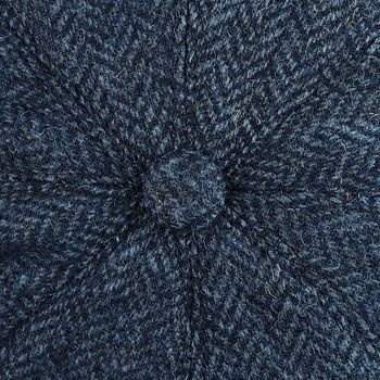 Lawrence & Foster Blue Wool Herringbone Tweed Newsboy Cap Fabric