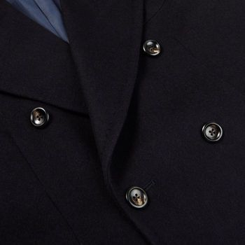 Luigi Bianchi Mantova Navy Wool Cashmere DB Polo Coat Closed