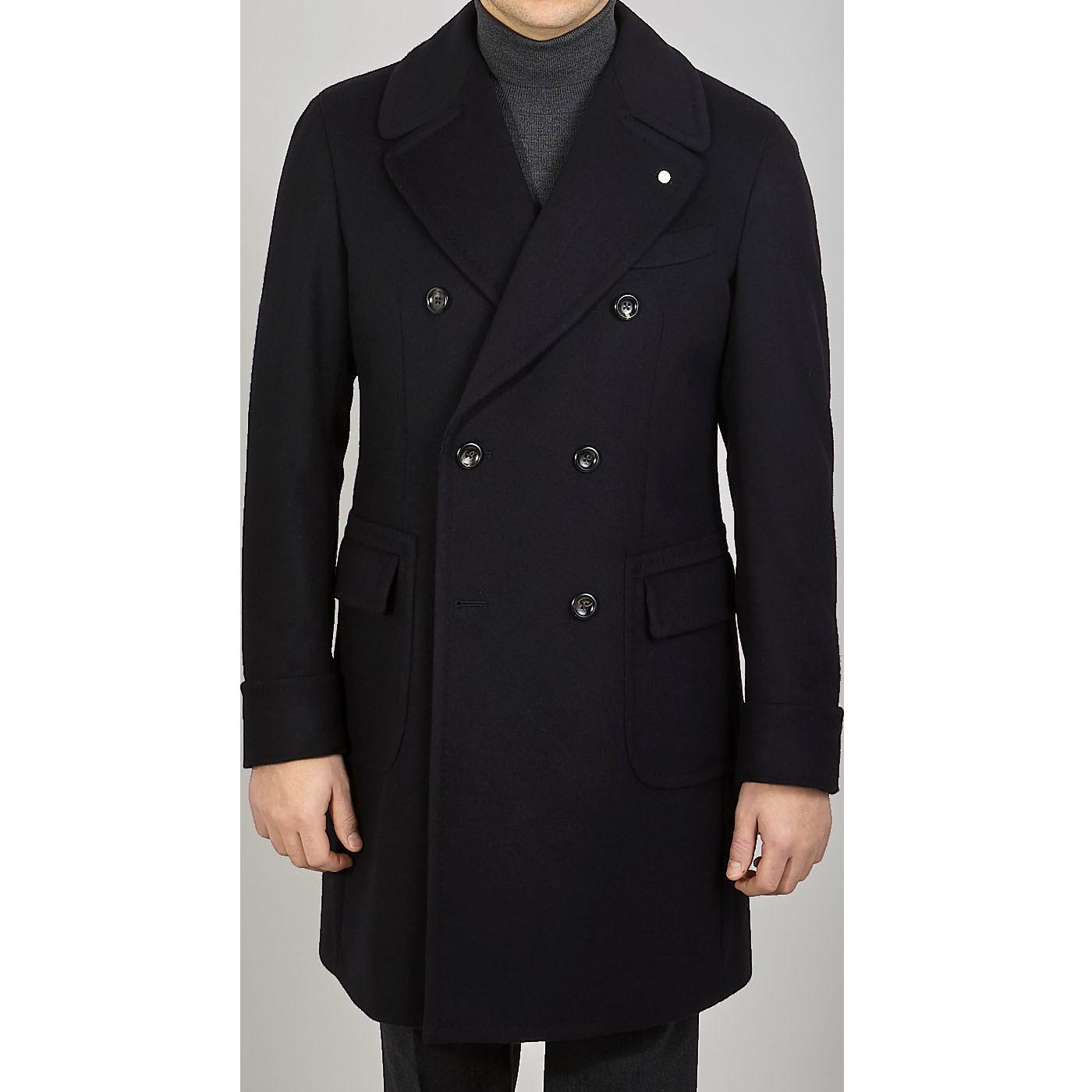 Luigi Bianchi Mantova Navy Wool Cashmere DB Polo Coat Front