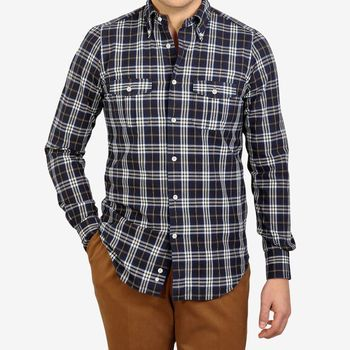 Mazzarelli Brown Checked Cotton Flannel Western Shirt Front