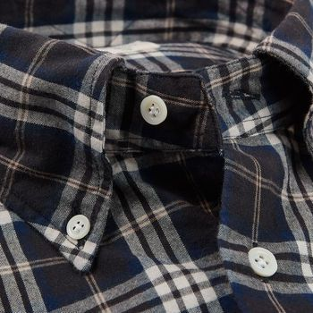 Mazzarelli Brown Checked Cotton Flannel Western Shirt Open Collar